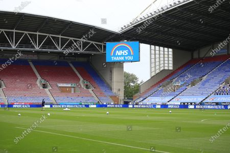 Wigan Athletic stadium sign showing support for the NHS