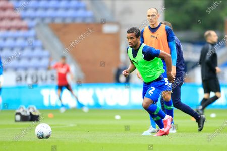 Nathan Byrne (2) of Wigan Athletic warms up for the game