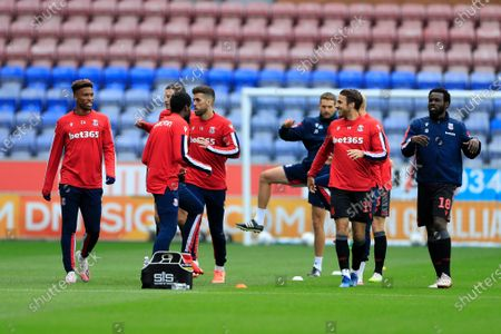 Stoke City players warms up for the game