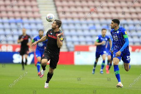Sam Vokes (9) of Stoke City controls the ball