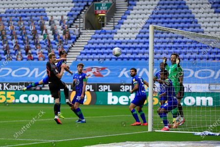 Nathan Collins (37) of Stoke City goes close with a header from a corner