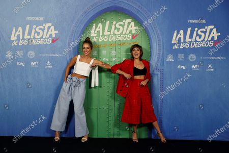 Stock Picture of Maria Leon (R) and Silvia Alonso greet each other with her elbow as they pose for the photographers during the presentation of film 'La lista de los deseos' (lit. The Wishes' List) at a hotel in Madrid, Spain, 30 June 2020. The film opens in Spanish cinemas on 03 July.