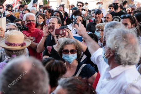 Protests during the speech of Massimo D'Alema at the demonstration against Israel's plan to annex parts of the occupied West Bank