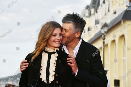 Stock Image of Actress Chiara Mastroianni and Director Christophe HonorÃ'
