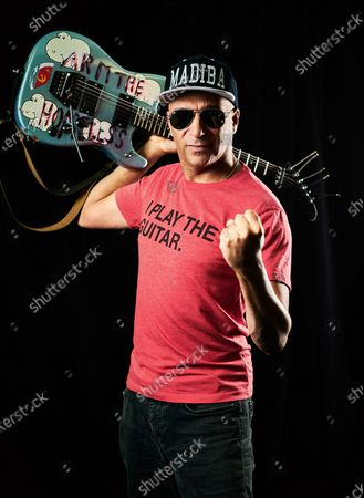 Portrait of American musician Tom Morello, photographed backstage before a live solo performance at Ashton Gate Stadium in Bristol, England on June 5, 2019. Morello is best known as a guitarist with hard rock groups Rage Against The Machine, Audioslave and Prophets Of Rage.