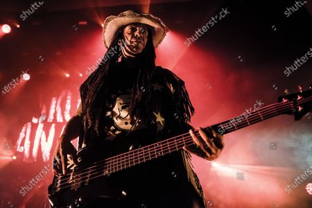 Bassist Richard Lewis of English hard rock group Skunk Anansie performing live on stage at the O2 Academy Brixton in London