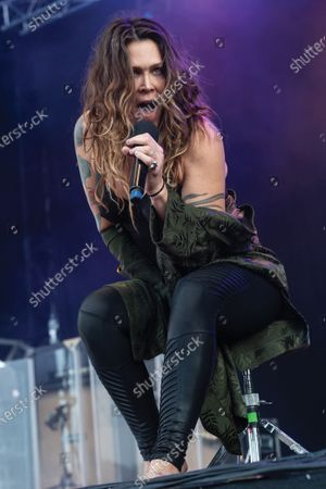 Stock Image of American blues rock vocalist Beth Hart performing live on stage during Ramblin' Man Fair music festival at Mote Park in Maidstone, England