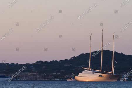 """World's largest sailing yacht called """" A """", (Hamilton) owned by Russian billionaire industrialist Andrey Melnichenko, spotted in Saint-Tropez harbor, south of France."""