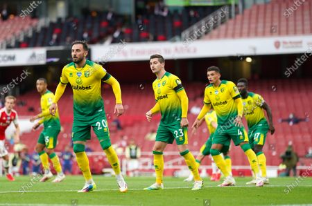 The Norwich defence of Josip Drmic, Kenny McLean, Ben Godfrey and Alexander Tettey