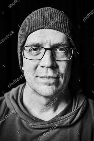 Stock Image of Portrait of Canadian rock musician Devin Townsend, photographed before a live performance at St George's Church in Bristol, England