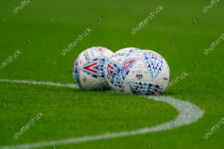 Mitre balls sit on the pitch before kick-off