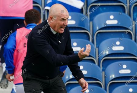 Mark Warburton Manager of QPR gives instruction from the sideline