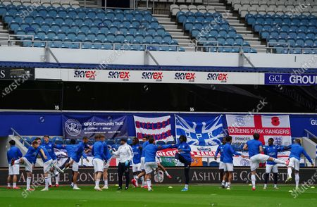 QPR warm up before kick-off