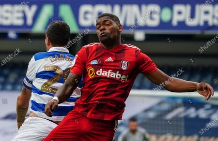 Ivan Cavaleiro of Fulham and Yoann Barbet of QPR collide