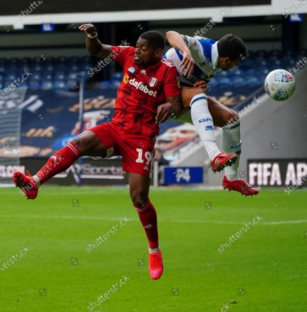 Ivan Cavaleiro of Fulham collides with Yoann Barbet of QPR