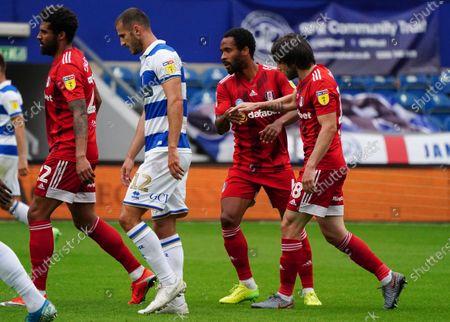 Harry Arter of Fulham celebrates scoring an equaliser goal with Denis Odoi of Fulham