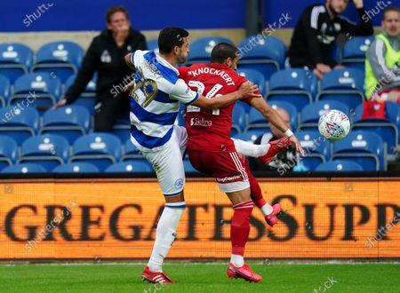 Yoann Barbet of QPR challenges Anthony Knockaert of Fulham