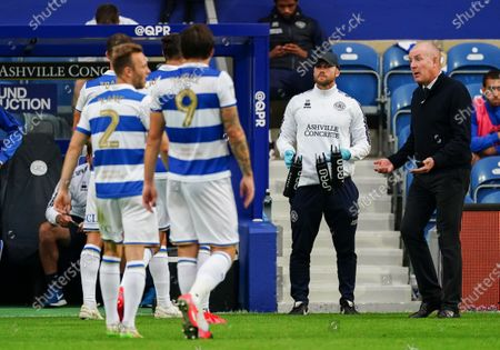 Mark Warburton Manager of QPR reacts to his players during a water break