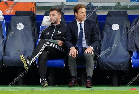 Scott Parker Manager of Fulham and Matt Wells First Team Coach of Fulham look on from the sideline