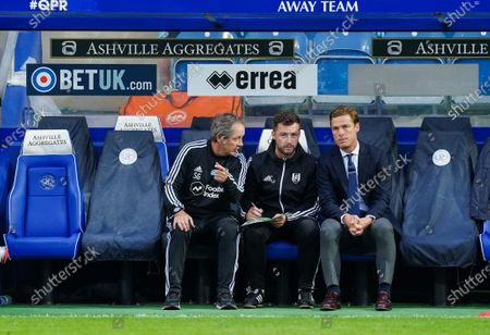 Scott Parker Manager of Fulham, Matt Wells First Team Coach and Stuart Gray Assistant Manager look on from the sideline