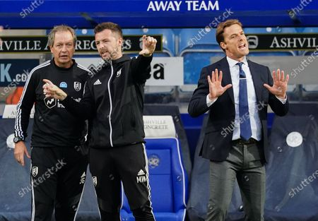 Scott Parker Manager of Fulham reacts to his players alongside Matt Wells First Team Coach and Stuart Gray Assistant Manager