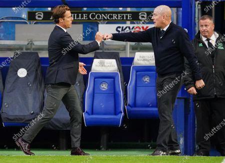 Scott Parker Manager of Fulham fist pumps Mark Warburton Manager of QPR after Fulham win 2-1