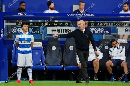 Mark Warburton Manager of QPR with substitute Ilias Chair of QPR