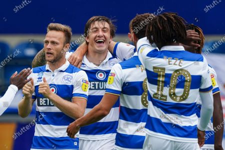 Jordan Hugill of QPR celebrates scoring the opening goal within the first minute of play
