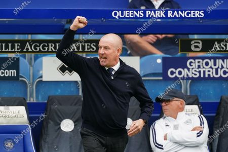 Mark Warburton Manager of QPR celebrates on the sideline as QPR score within the first minute of play