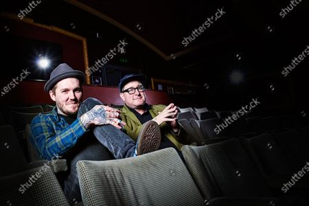 Portrait of American rock musicians Brian Fallon (L) and Craig Finn, photographed before a live performance at Komedia in Bath, England