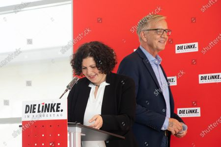 German The Left (Die Linke) party faction co-leaders in the German parliament Bundestag Amira Mohamed Ali (L) and Dietmar Bartsch (R) attend a press statement prior to a faction meeting at the German parliament Bundestag in Berlin, Germany, 30 June 2020.