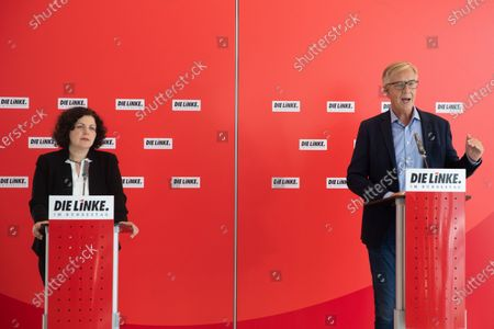 Stock Photo of German The Left (Die Linke) party faction co-leaders in the German parliament Bundestag Amira Mohamed Ali (L) and Dietmar Bartsch (R) attend a press statement prior to a faction meeting at the German parliament Bundestag in Berlin, Germany, 30 June 2020.