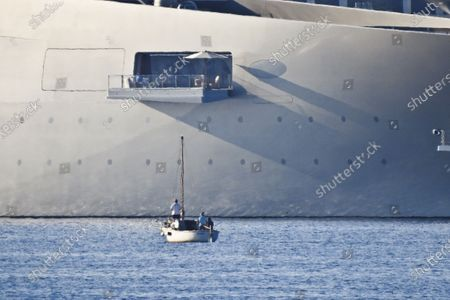 """World's largest sailing yacht called """" A """", (Hamilton) owned by Russian billionaire industrialist Andrey Melnichenko, spotted in Saint-Tropez harbor, south of France"""