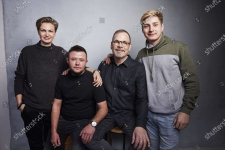 """Olga Baranova, from left, David Isteev, director David France, and Maxim Lapunov pose for a portrait to promote the film """"Welcome to Chechnya"""" during the Sundance Film Festival in Park City, Utah. The documentary is about an underground pipeline created to rescue LGBTQ Chechens from the Russian republic where the government has waged a crackdown of gays"""