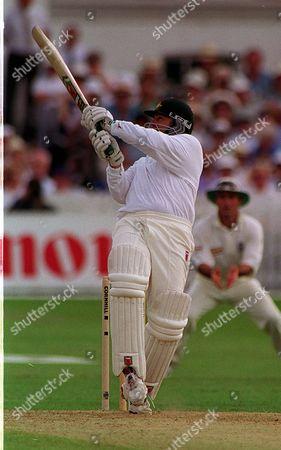 England V Australia Sixth Test Match Trent Bridge Nottingham. Mark Taylor Australia Unleashes This Shot Off Devon Malcolm England... 1997