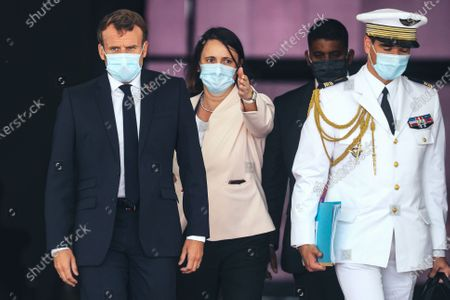 Stock Picture of French President Emmanuel Macron (L) wears a face mask as he arrives at Nouakchott-Oumtounsy International Airport, in Nouakchott, Mauritania, 30 June 2020, to attend a G5 Sahel summit. The leaders of the G5 Sahel West African countries and their ally France are meeting to confer over their troubled efforts to stem a jihadist offensive unfolding in the region, six months after rebooting their campaign in Pau, southwestern France.