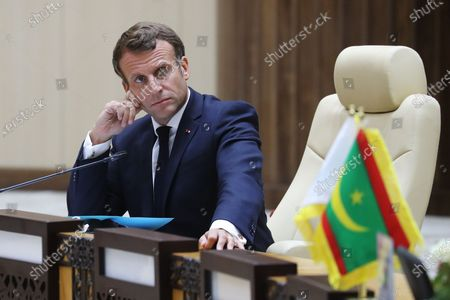 French President Emmanuel Macron takes part in a working session during the G5 Sahel summit on June 30, 2020, in Nouakchott. The leaders of the G5 Sahel West African countries and their ally France are meeting to confer over their troubled efforts to stem a jihadist offensive unfolding in the region, six months after rebooting their campaign in Pau, southwestern France.