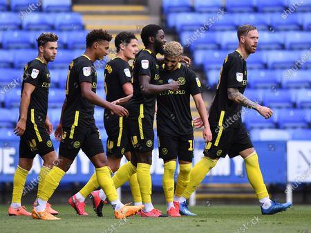 Madejski Stadium, Reading, Berkshire, England; Josh Dasilva of Brentford celebrates with his team after scoring in 65th minute for 0; English Championship Football, Reading versus Brentford.