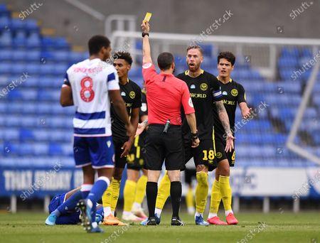 Madejski Stadium, Reading, Berkshire, England; Pontus Jansson of Brentford receives a yellow card; English Championship Football, Reading versus Brentford.