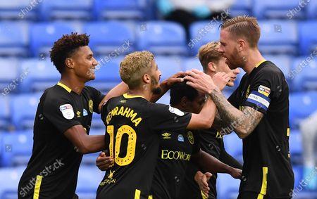 Madejski Stadium, Reading, Berkshire, England; Joel Valencia of Brentford celebrates with his team after scoring in 90th minute 0; English Championship Football, Reading versus Brentford.