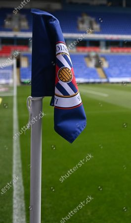 Madejski Stadium, Reading, Berkshire, England; the corner flag at Madejeski stadium before kick off; English Championship Football, Reading versus Brentford.