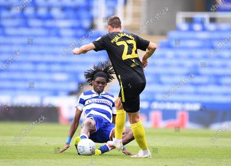 Madejski Stadium, Reading, Berkshire, England; Ovie Ejaria of Reading tackles Henrik Dalsgaard of Brentford; English Championship Football, Reading versus Brentford.