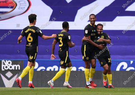 Madejski Stadium, Reading, Berkshire, England; Bryan Mbeumo and Ethan Pinnock of Brentford celebrate scoring in 22nd minute 0; English Championship Football, Reading versus Brentford.