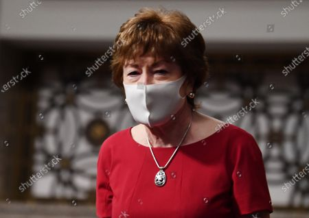United States Senator Susan Collins (Republican of Maine), of the Senate Health, Education, Labor and Pensions (HELP) Committee, wears a face mask during a hearing on Capitol Hill in Washington DC. Dr. Anthony Fauci, director of the National Institute for Allergy and Infectious Diseases, and other government health officials updated the Senate on how to safely get back to school and the workplace during the COVID-19 pandemic.