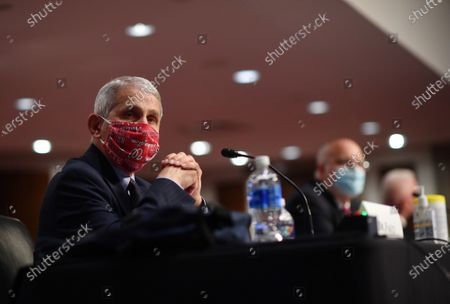 Dr. Anthony Fauci, director of the National Institute for Allergy and Infectious Diseases, wears a face mask while testifying before the Senate Health, Education, Labor and Pensions (HELP) Committee on Capitol Hill in Washington DC. Fauci and other government health officials updated the Senate on how to safely get back to school and the workplace during the COVID-19 pandemic.
