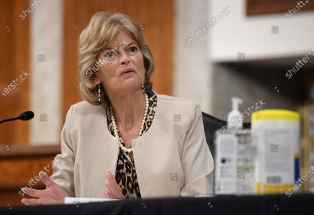 United States Senator Lisa Murkowski (Republican of Alaska), of the Senate Health, Education, Labor and Pensions (HELP) Committee, asks questions during a hearing on Capitol Hill in Washington DC. Dr. Anthony Fauci, director of the National Institute for Allergy and Infectious Diseases, and other government health officials updated the Senate on how to safely get back to school and the workplace during the COVID-19 pandemic.