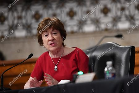 United States Senator Susan Collins (Republican of Maine), of the Senate Health, Education, Labor and Pensions (HELP) Committee, asks questions during a hearing on Capitol Hill in Washington DC. Dr. Anthony Fauci, director of the National Institute for Allergy and Infectious Diseases, and other government health officials updated the Senate on how to safely get back to school and the workplace during the COVID-19 pandemic.
