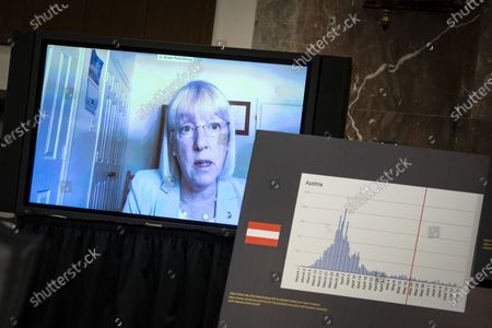 United States Senator Patty Murray (Democrat of Washington), ranking member, US Senate Health, Education, Labor and Pensions Committee, speaks via teleconference during a hearing in Washington, D.C., U.S.,. Top federal health officials are expected to discuss efforts to get back to work and school during the coronavirus pandemic.