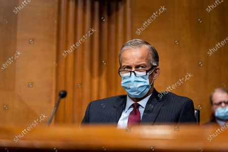 United States Senator John Thune (Republican of South Dakota), speaks during a Senate Finance Committee hearing about the 2020 Filing Season and IRS COVID-19 Recovery at the U.S. Capitol in Washington DC.