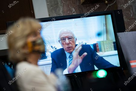 Senator Bernie Sanders, an Independent from Vermont, speaks via teleconference during a hearing in Washington, DC, USA, 30 June 2020. Top federal health officials are expected to discuss efforts to get back to work and school during the coronavirus disease (COVID-19) pandemic.